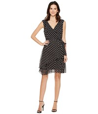 Tahari By Arthur S. Levine Polka Dot Chiffon Faux Wrap Dress Black White Women's Dress