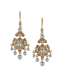 Carolee Mini Chandelier Drop Earrings Champagne Platinum