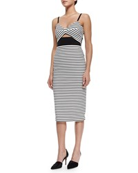 Nicholas Fitted Breton Striped Cutout Dress Women's White Black