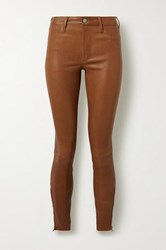 J Brand Stretch Leather Skinny Pants Light Brown