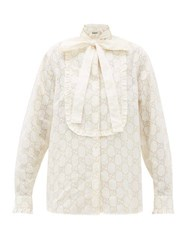 Gucci Gg Broderie Anglaise Cotton Blend Shirt White Gold