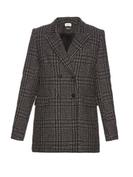 Etoile Isabel Marant Gilane Double Breasted Tweed Jacket Black White