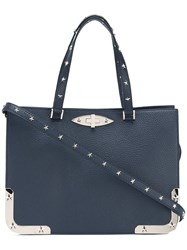 Red Valentino Metallic Details Stars Tote Women Calf Leather One Size Blue