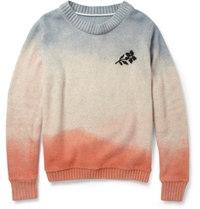 The Elder Statesman Hand Dyed Flower Cashmere Sweater Blue