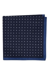 Ted Baker Men's London Paisley Dot Double Sided Wool Pocket Square Navy