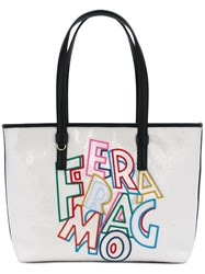 Salvatore Ferragamo Logo Embroidered Sequin Tote Bag Women Cotton Calf Leather Pvc One Size White