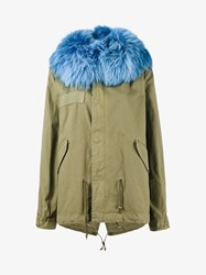 Mr And Mrs Italy Racoon Fur Hood Unlined Parka Jacket Green