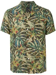 120 Lino Palm Leaf Shirt Green
