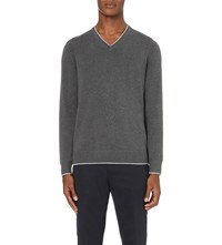 Michael Kors Tipped Cotton V Neck Neck Jumper Ash Melange