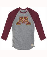 Retro Brand Men's Minnesota Golden Gophers Color Block Long Sleeve T Shirt Gray