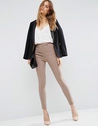 Asos High Waist Trousers In Skinny Fit Taupe Beige