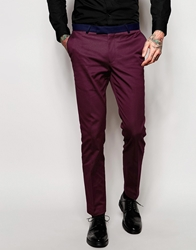 Noose And Monkey Suit Trousers With Contrast Piping In Skinny Fit Wine