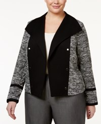 Calvin Klein Plus Size Open Front Military Blazer Black White