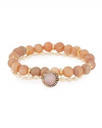 Panacea Druzy And Crystal Stretch Bracelets Peach