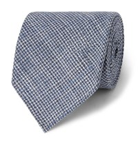 Drakes Drake's 8Cm Puppytooth Wool And Silk Blend Tie Blue