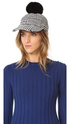 Hat Attack Houndstooth Baseball Cap With Rabbit Pom Black White