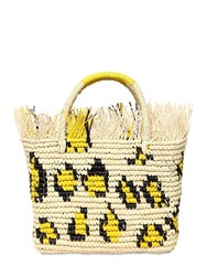 Sensi Studio Canasta Frayed Leopard Straw Tote Bag Natural Yellow
