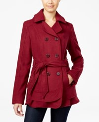 Celebrity Pink Hooded Belted Peacoat Burgundy