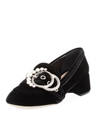 Miu Miu Embellished Buckle Patent Loafer Pump Black