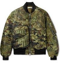 Givenchy Printed Satin Twill Bomber Jacket Army Green