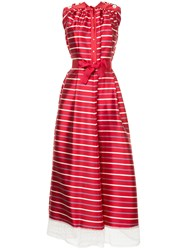 Alexis Mabille Tulle Hem Striped Gown Polyester Red