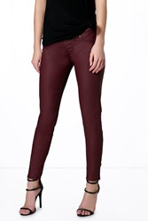 Boohoo Pull On Leather Look Jeggings Berry