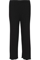 Proenza Schouler Plisse Stretch Cady Flared Pants Black