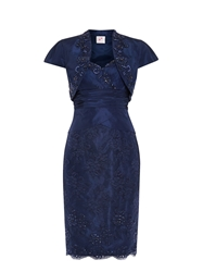 Anoushka G Embellished Corded Lace Dress And Jacket Blue