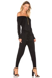 Bobi Jersey Long Sleeve Off The Shoulder Jumpsuit Black