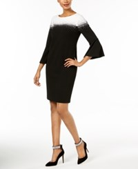 Jessica Howard Embellished Bell Sleeve Dress Black Ivory