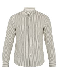 A.P.C. Mick Striped Cotton Canvas Overshirt Beige Multi