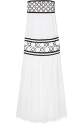 Tory Burch Christie Grosgrain And Guipure Lace Trimmed Silk Georgette Maxi Dress White Usd