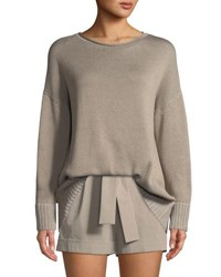 Lafayette 148 New York Vanise Cotton Silk Relaxed Sweater Jute Dove