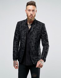 Asos Skinny Blazer In Black With Paisley Flock Detail Black