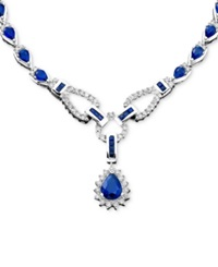 Macy's 14K White Gold Necklace Sapphire 12 1 3 Ct. T.W. And Diamond 1 1 5 Ct. T.W. Pendant