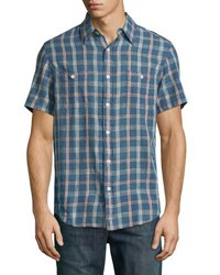 Faherty Ss Seasons Check Work Shirt Indigo