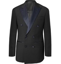 Thom Sweeney Midnight Blue Slim Fit Satin Trimmed Wool Tuxedo Jacket Navy