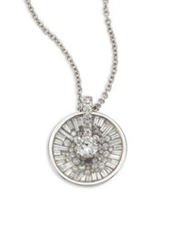 Pleve Opus Ice Baguette Diamond And 18K White Gold Pendant Necklace