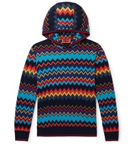 Missoni Cotton And Wool Blend Intarsia Hoodie Blue