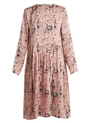 Shrimps Heather Doodle Print Silk Dress Pink Multi