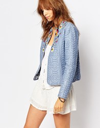 Pepe Jeans Quilted Denim Jacket With Beading Bleach Blue