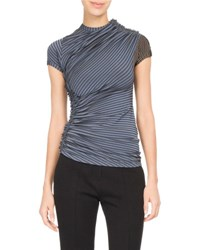 Atlein Dotted Stripe Ruched Jersey Top Blue Pattern