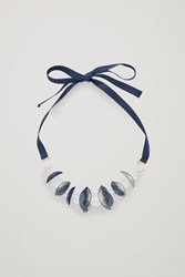 Cos Glass Ball Ribbon Necklace Blue