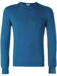 Malo Crew Neck Sweater Men Cashmere 56 Blue