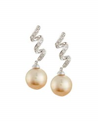 Belpearl 14K Golden South Sea Pearl Diamond Swirl Dangle Earrings
