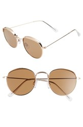 Bp. 50Mm Round Sunglasses Gold Brown Gold Brown