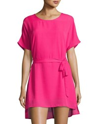 Lucca Couture Short Sleeve Belted Dress Fuchsia