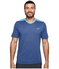 The North Face Reactor Short Sleeve V Neck Shady Blue Heather Blue Moon Men's Clothing