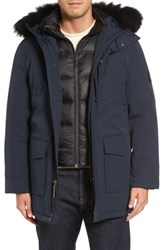 Uggr Men's Ugg Butte Water Resistant Down Parka With Genuine Shearling Trim Black