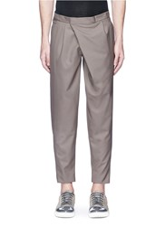 Kolor Crossover Front Pleated Wool Pants Brown